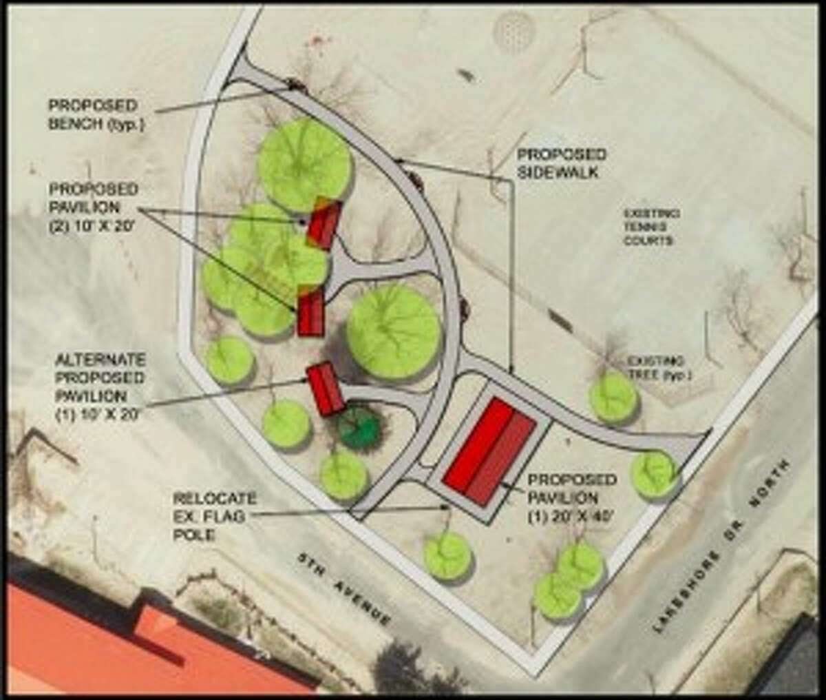 City of Manistee engineer of record has completed preliminary designs of a park for Fifth Avenue Beach.