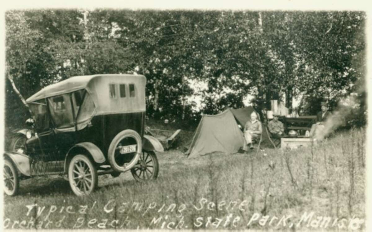 Campers looked a little different at Orchard Beach State Park are in this 1930s photograph.