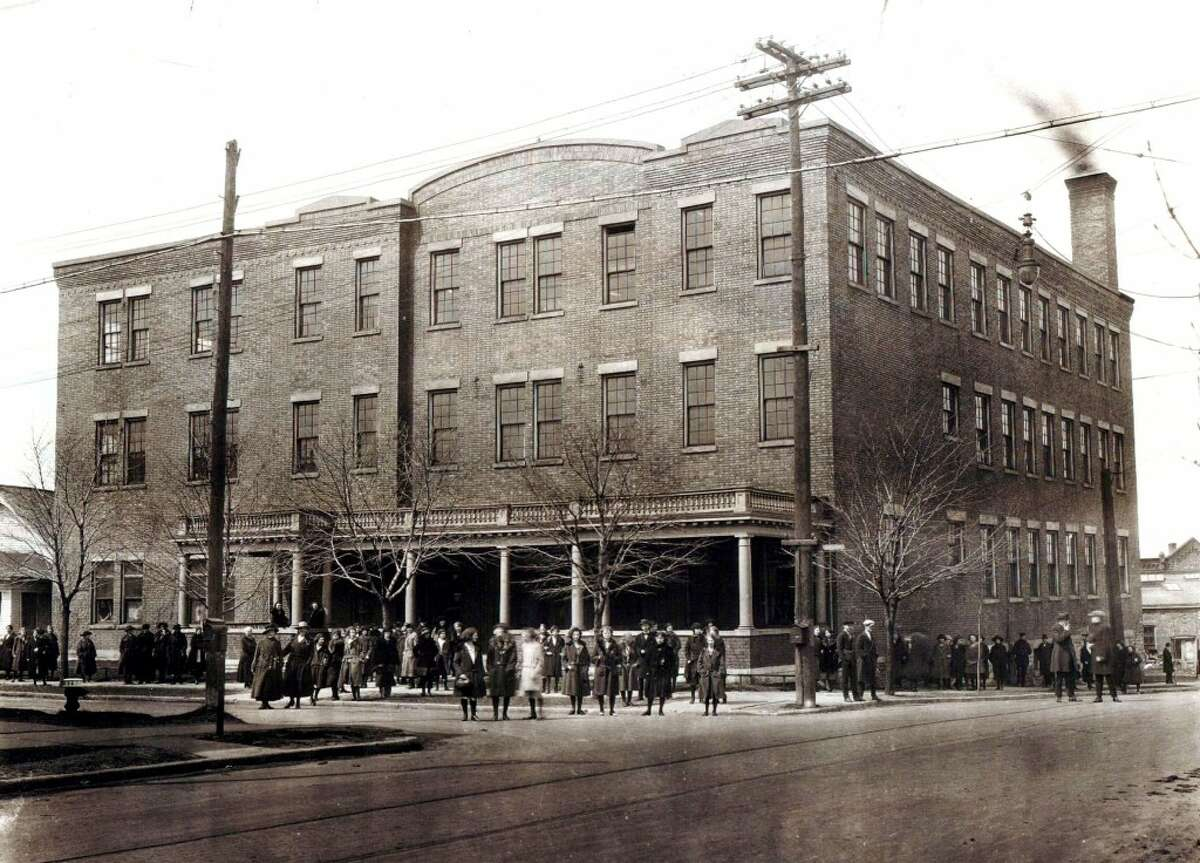 This 1923 photo shows the building that was once the Briny Inn but by then had become the Cooper Underwear factory. Today it is known as the Briny Building and houses offices at the corner of Division and Filer streets. (Courtesy Photo/Manistee County Historical Museum)