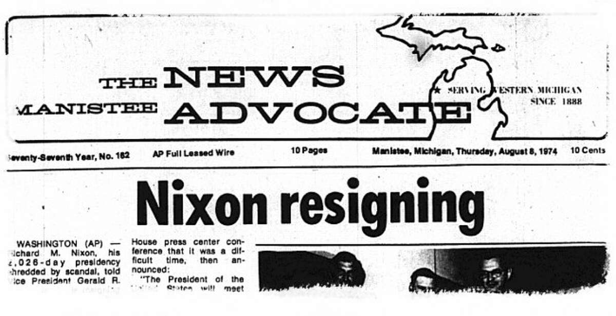 The front page of the Manistee News Advocate announced President Nixon's resignation from office on August 8, 1974.