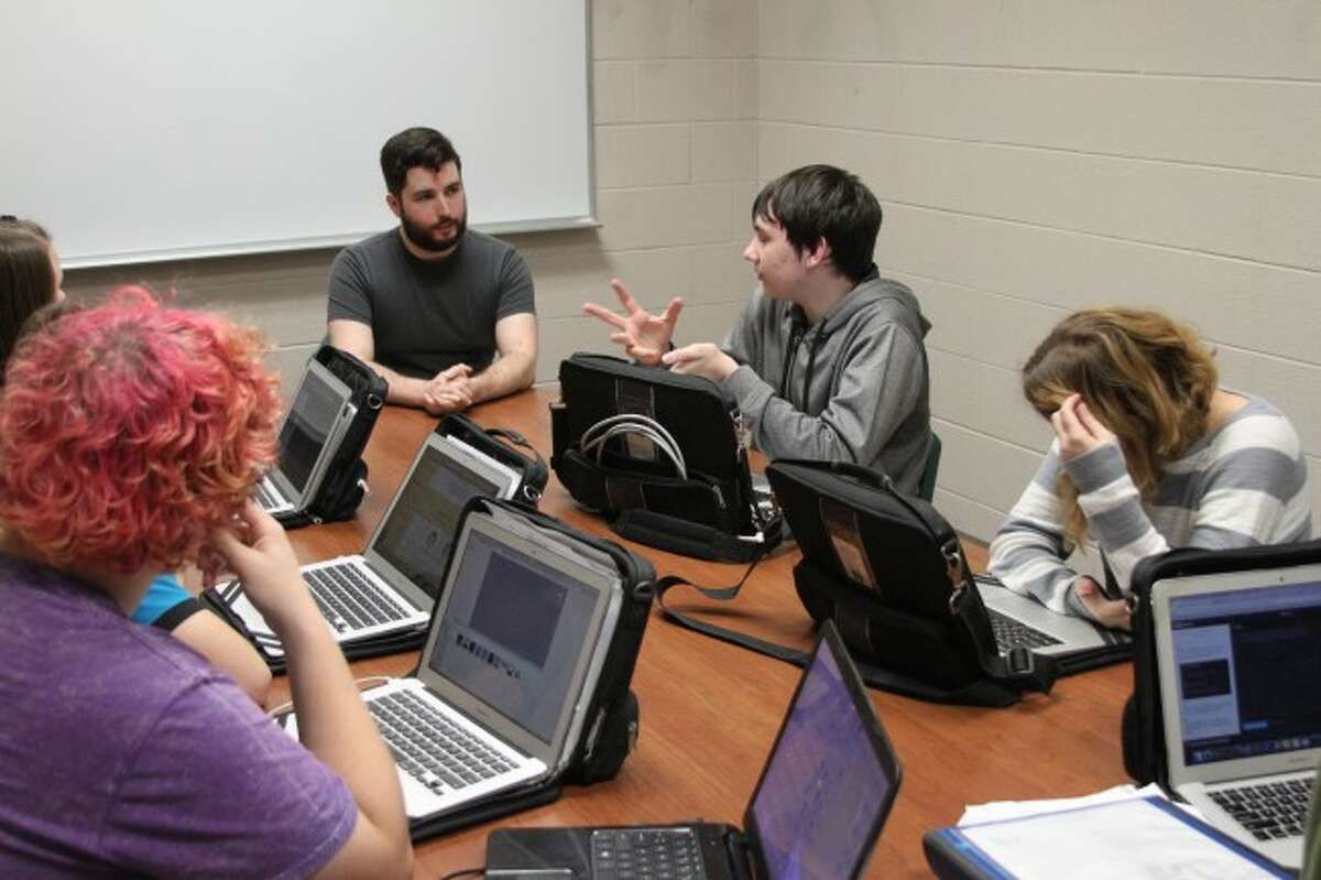 Computer game designer Virgil Watkins who is a graduate of Manistee High School came back to talk to students in the game design club on Thursday. Watkins is currently in London, England working on designing new video games.