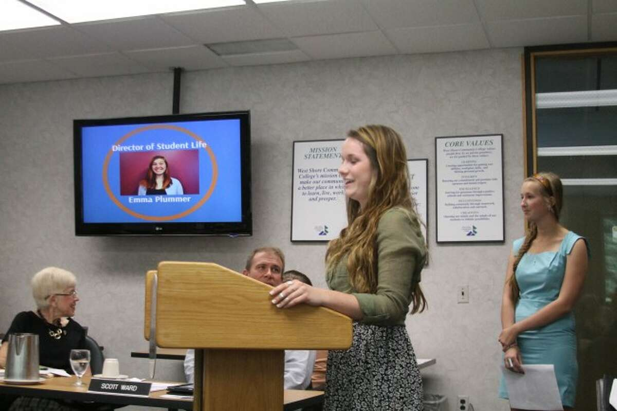 West Shore Community College Student Senate president Emily McKenna addresses the board of trustees about upcoming activities at the the college.