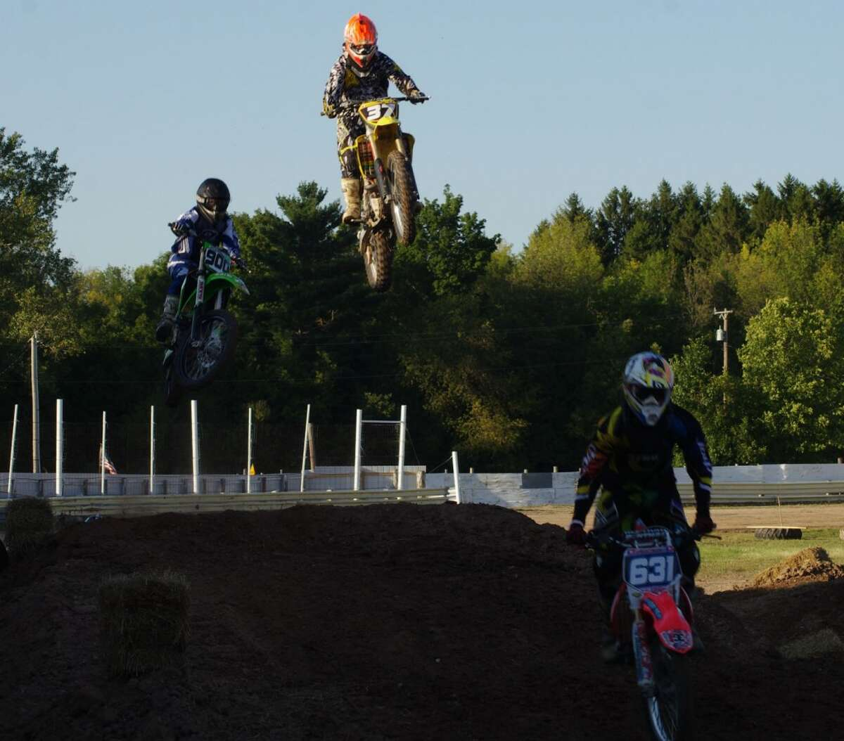 Tuesday evening's grandstand entertainment at the Manistee County Fair was motocross racing. (Dave Yarnell/News Advocate)