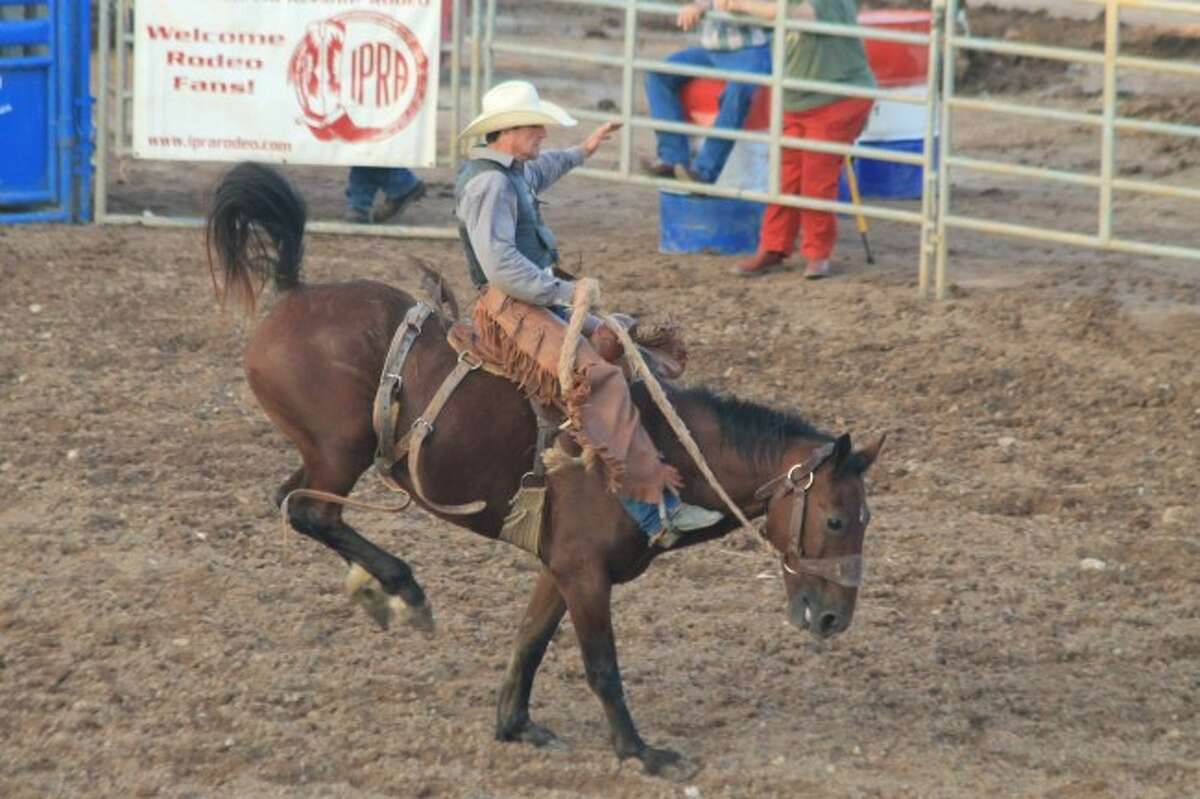 Bucking broncos ridden by cowboys thrilled the large crowd at the show the Broken Horn Rodeo put on Friday night at the Manistee County Fair.