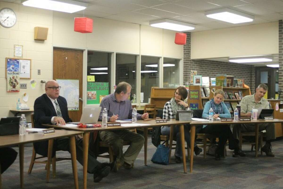 Members of the Manistee Area Public Schools Board of Education discuss the hiring of Foresite Design Inc. on Wednesday evening to handle the design of the new track.