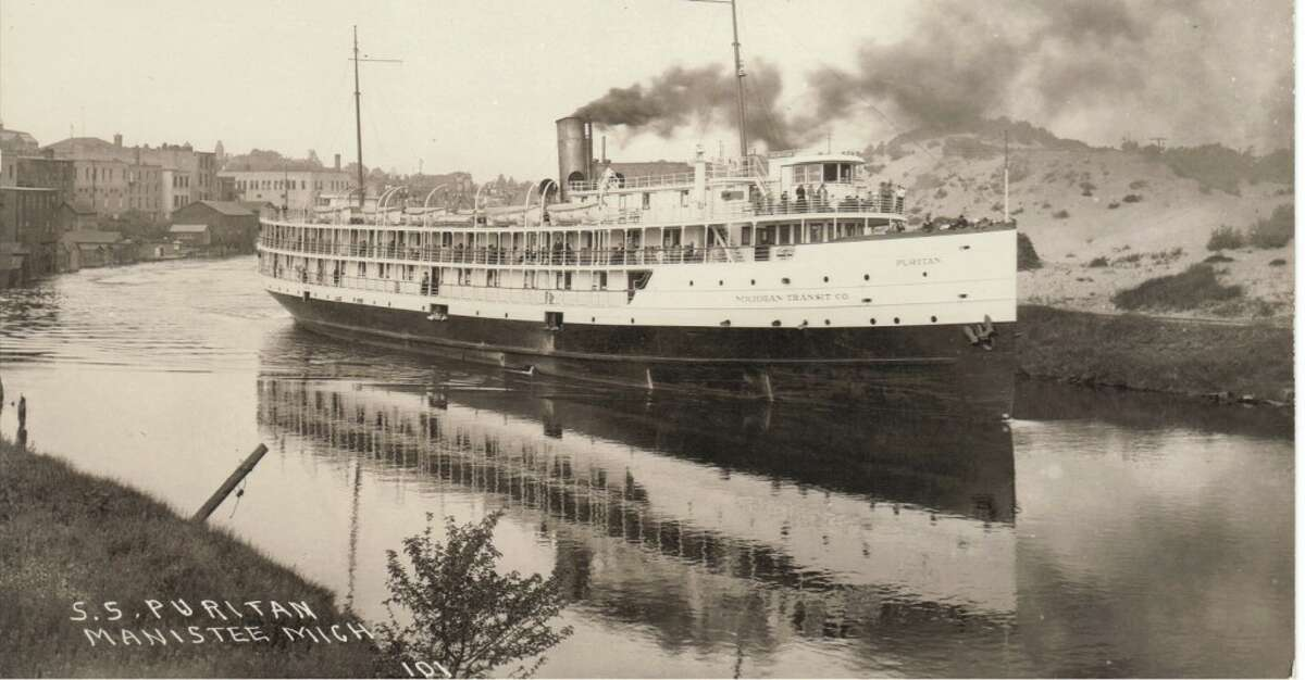 The steamship Puritan in the Manistee River Channel in the late 1800s. (Courtesy Photo/Dale Picardat)