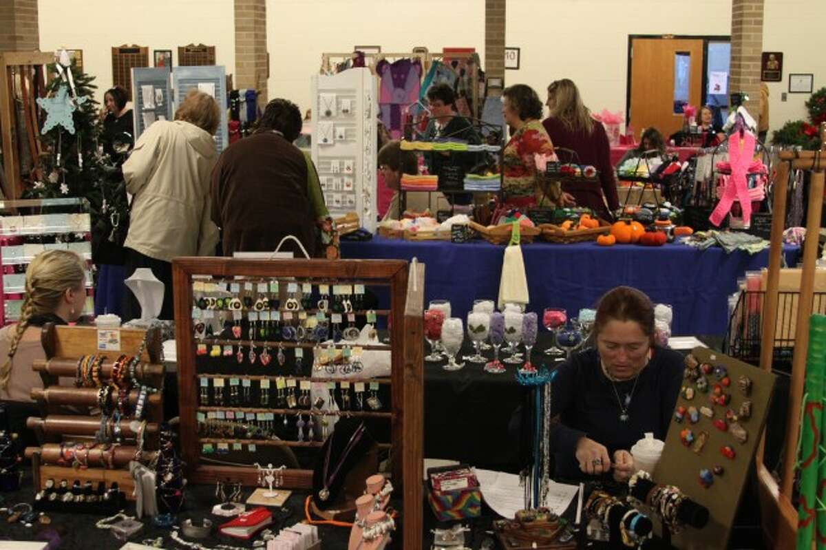 A variety of homemade crafts as well as food items were on display at the 15th annual holiday vendor and craft fair on Saturday at Manistee Catholic Central. (Sean Bradley/News Advocate)