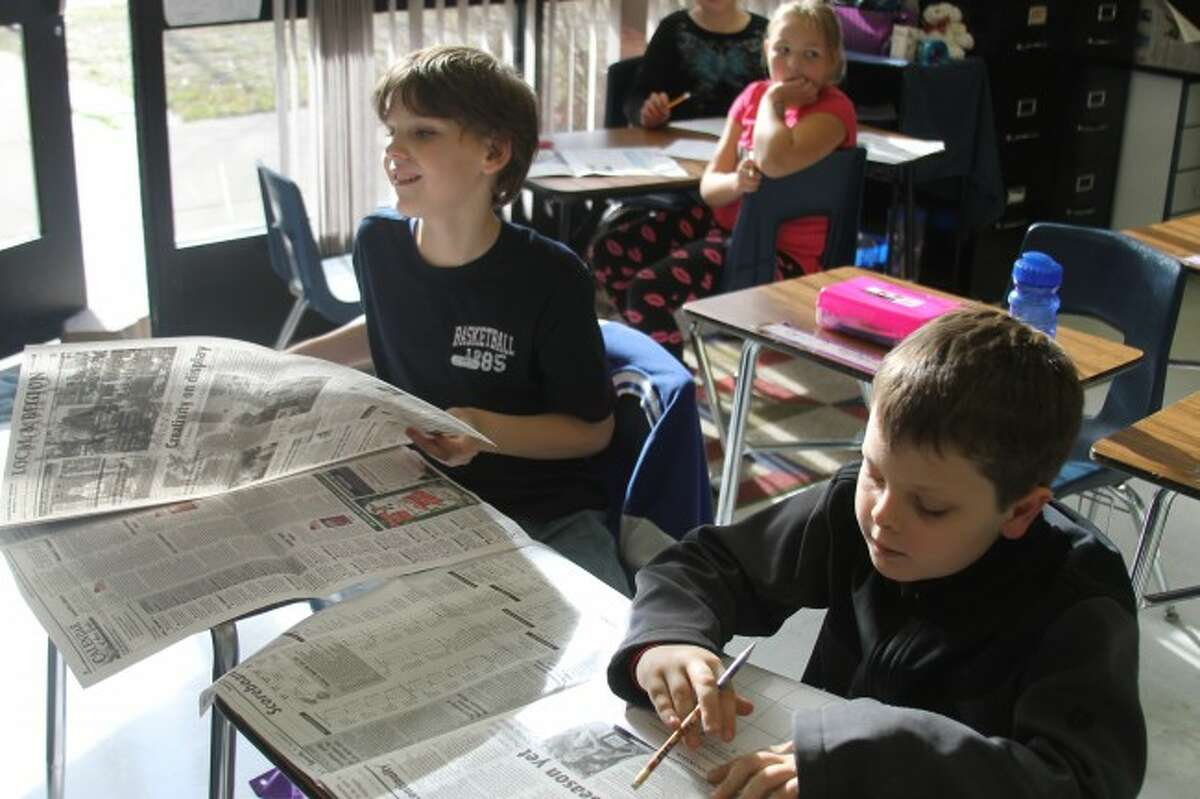 Students at Brethren Elementary School put the Manistee News Advocate to use in the Newspapers in Education program.