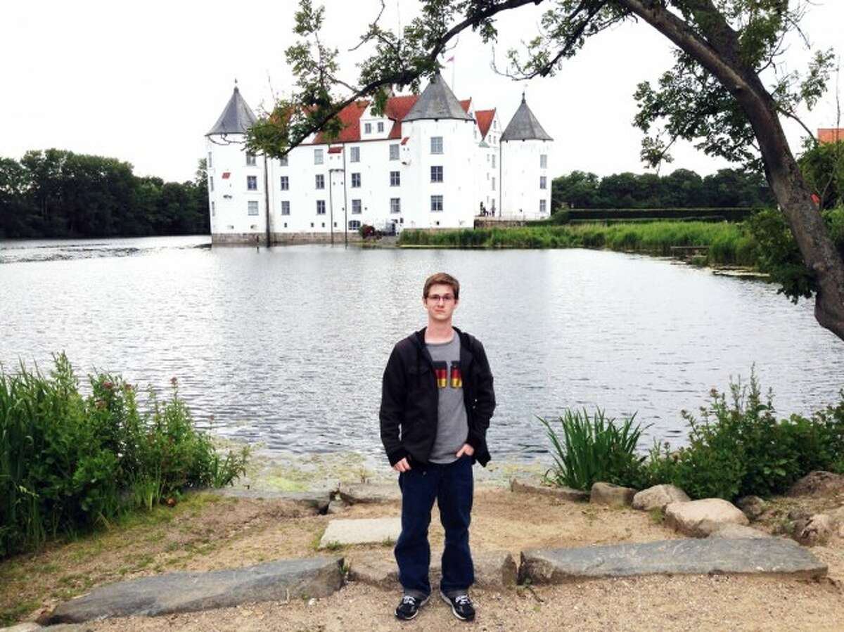 Manistee High School senior Callahan DeCillis was part of the Blue Lake Arts Camp Northern Winds group that toured Europe this summer. He is shown here at a castle in the province of Schleswig-Holstein.