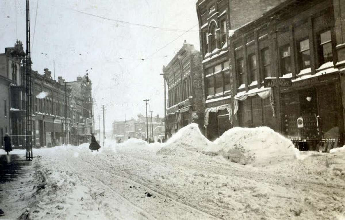 A blustery day on River Street in 1920 is shown in this photograph.