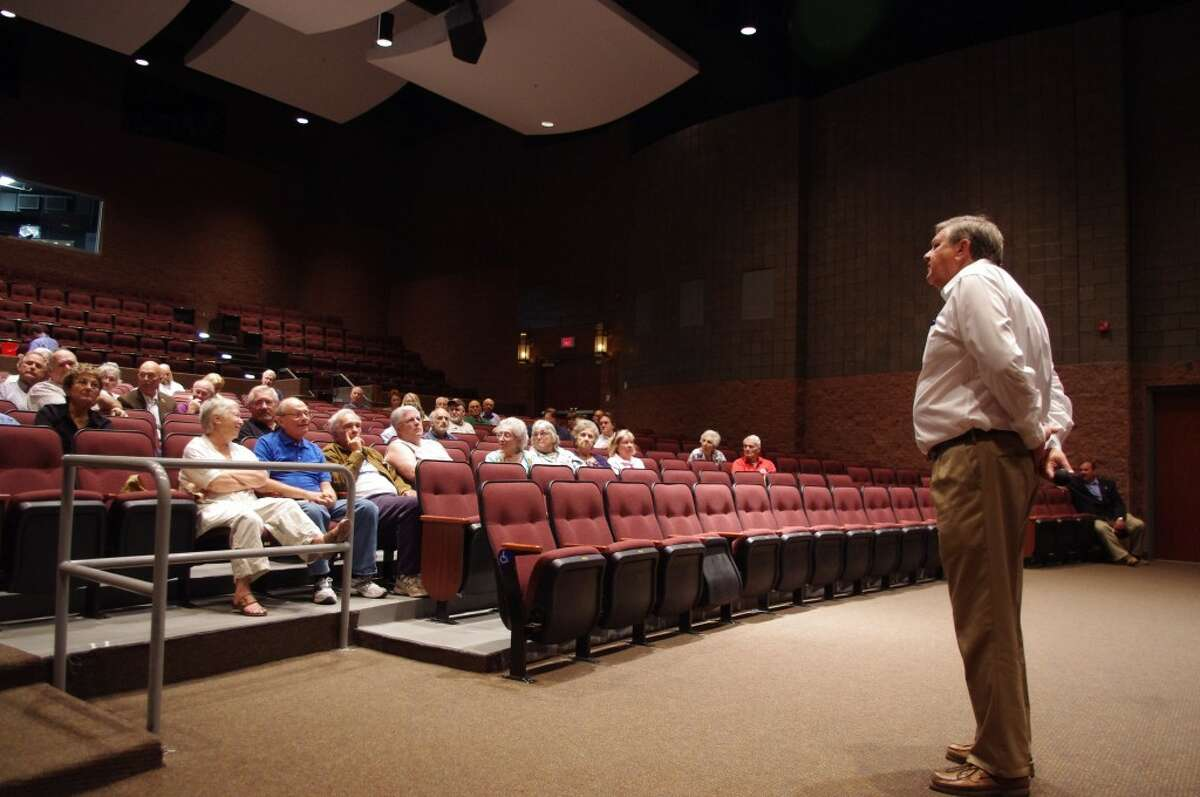 About 50 people attended U.S. Rep. Dan Benishek's town hall meeting held on Friday at Manistee High School. (Dave Yarnell/News Advocate)