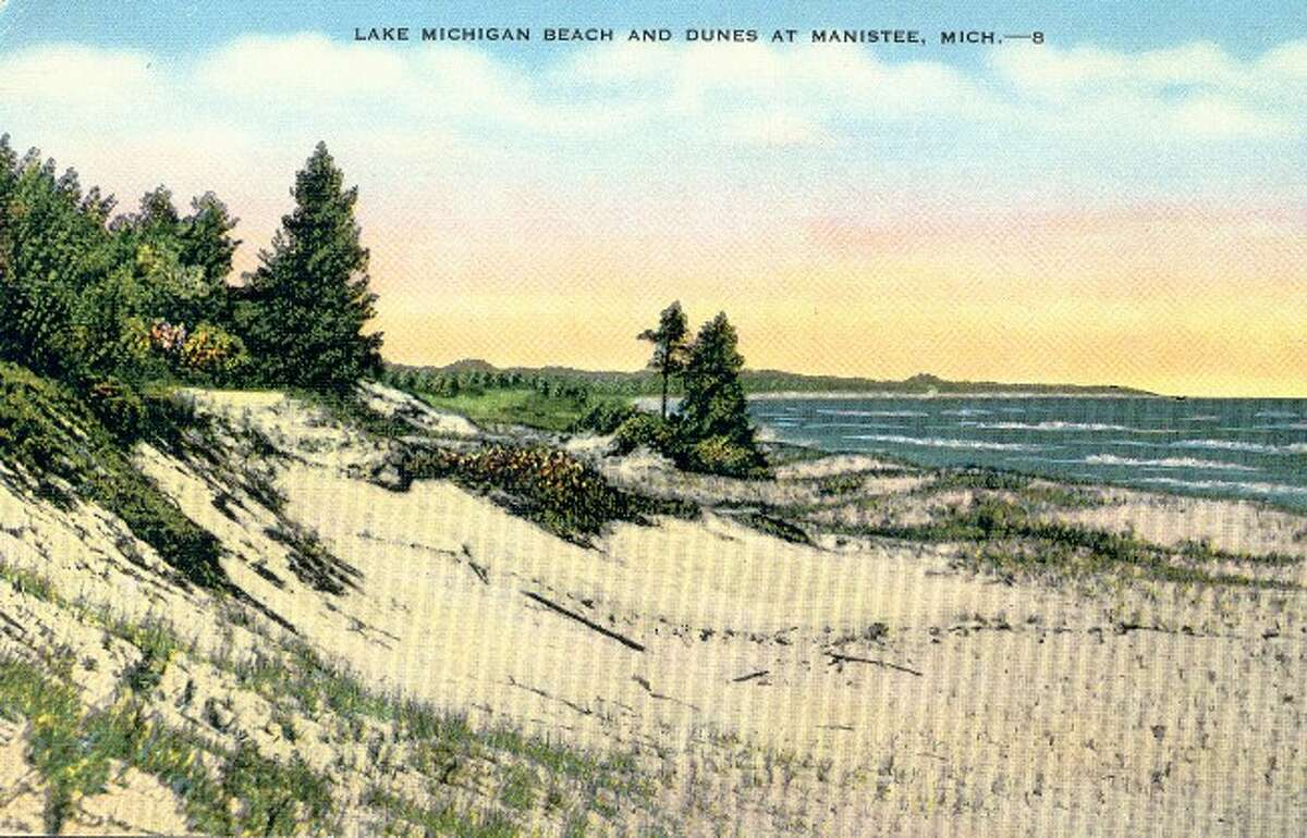 The Lake Michigan shoreline has always been a drawing point to the Manistee area as evident by this 1930s photograph.