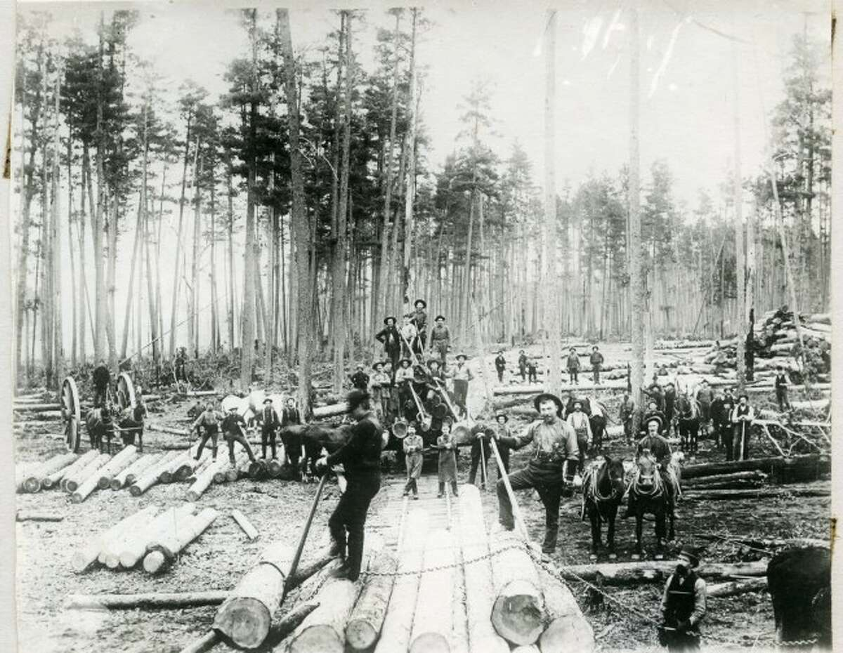 This group of loggers take a few moments to pose in front of this stack of logs they are preparing to ship off to the mill. Logging was big in Manistee County in the late 1880s.