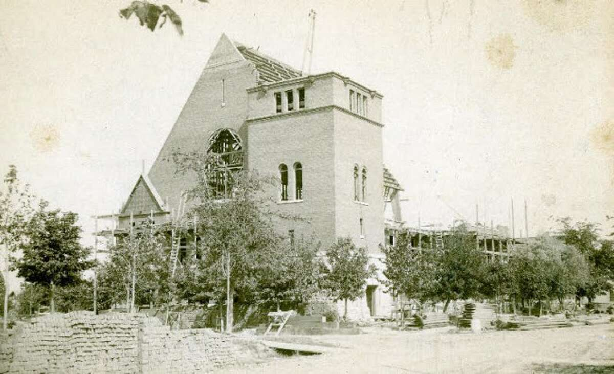 Construction of the First Congregational Church is shown in this 1892 photograph.