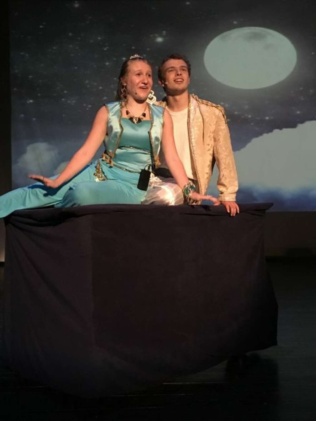 Jasmine played by Faith Kidd and Aladdin who is portrayed by Luca Leffew sing a song in the musical Aladdin Jr. that opens at 7 p.m. on Friday at the Onekama Consolidated Schools Cafetorium. The musical features students from the Bear Lake, Brethren and Onekama Consolidated Schools.