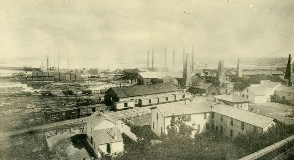 The R.G. Peters Lumber and Salt Mill is shown in this 1897 picture.