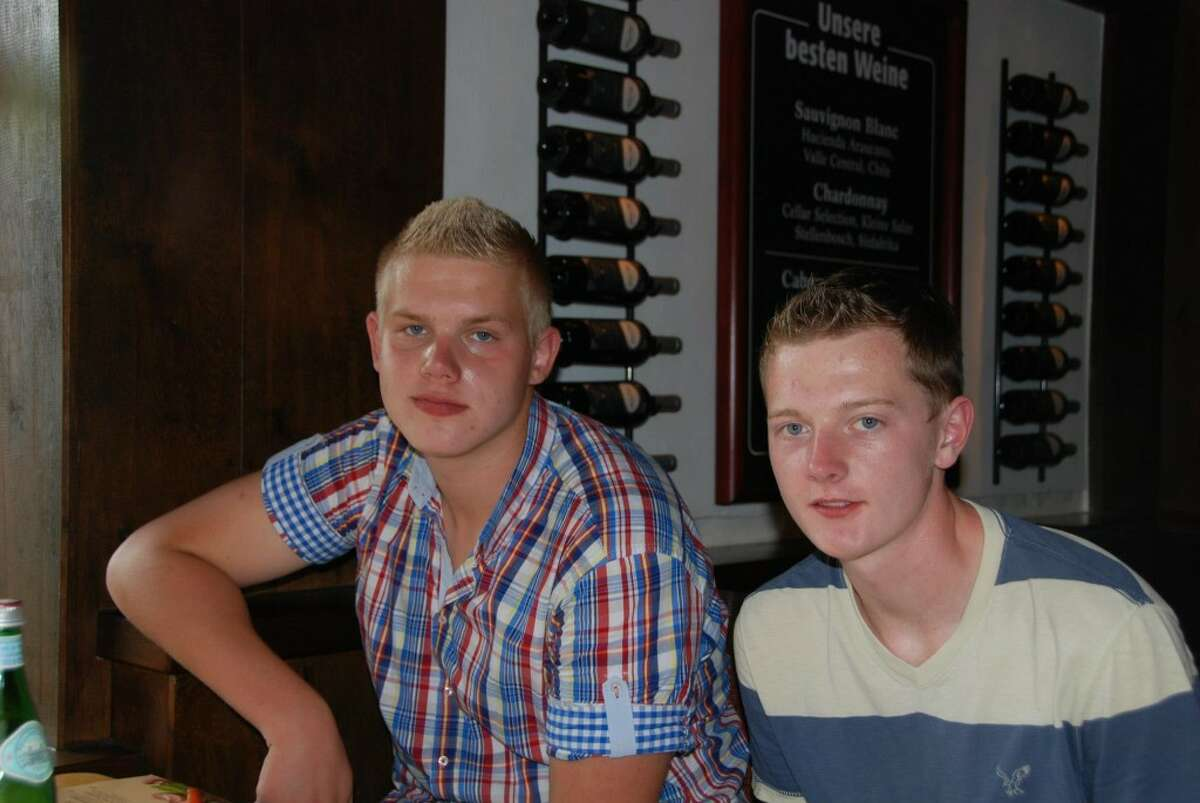 German foreign exchange student Sven Sczeponik and Manistee High School's Cody McShane are shown during Cody's recent visit to Sven's home near Frankfurt. The two became good friends when Sven lived with the McShane's last year.