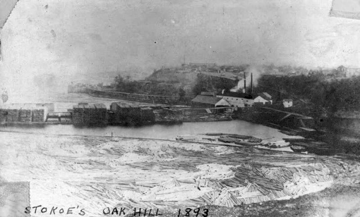 A view of Stokoe's Sawmill that was located by Oak Hill is shown how it looked in 1893.