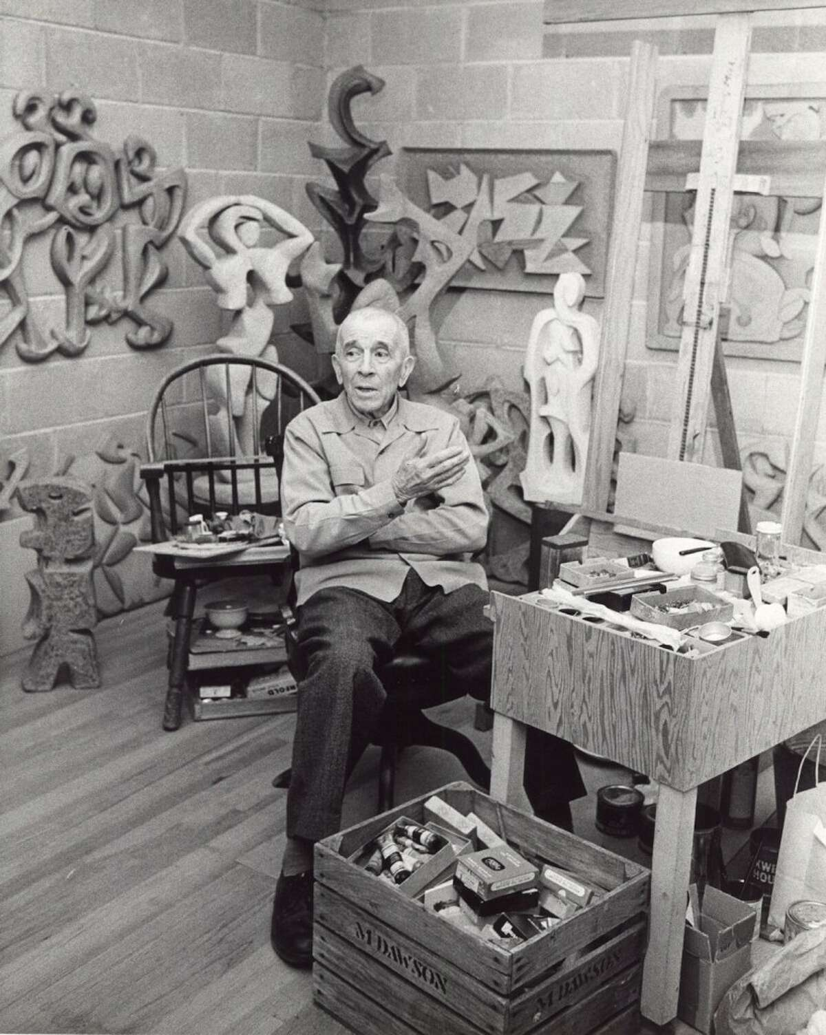The late noted Mason County artist Manierre Dawson is shown in his studio. Retired Wes Shore Community College professor Sharon Bluhm wrote a book on Dawson that will be highlighted in a lecture at the Ludington Area Arts Center on Thursday, Sept. 27 at 7 p.m.(Courtesy photo)