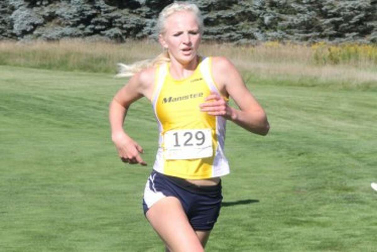 Manistee sophomore Annie Fuller runs to a first-place finish at Ferris State on Saturday. The Chippewa girls placed third as a team. (Pioneer News Network)