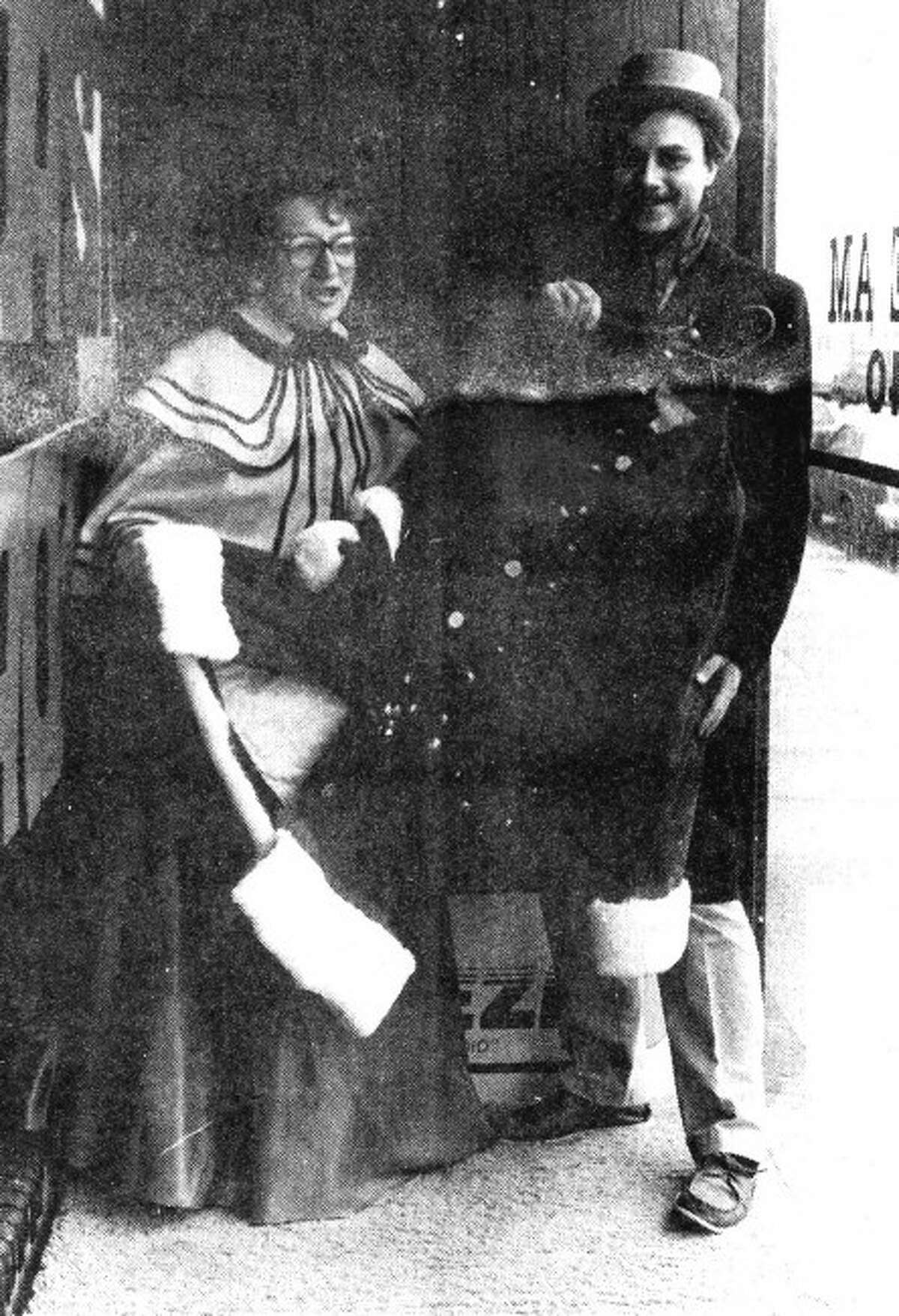 Pictured in 1989, Amanda Pinkerton and Jerry Smith were co-founders of the Victorian Sleighbell Parade and Old Christmas Weekend.