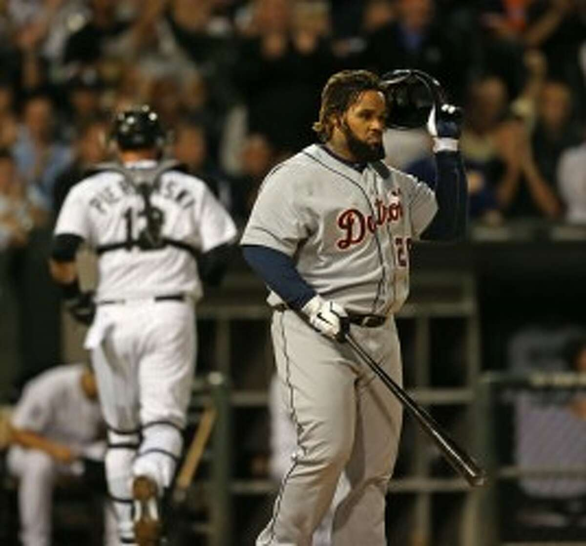 Tigers first baseman Prince Fielder reacts after striking out against the White Sox on Monday. (Nuccio DiNuzzo/Chicago Tribune/MCT)