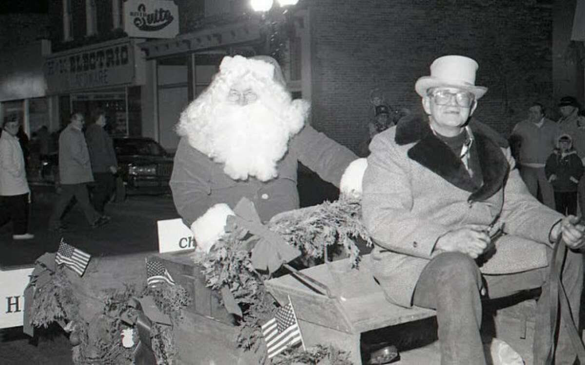 Santa Claus rides in the first Victorian Sleighbell Parade Festival in 1989.