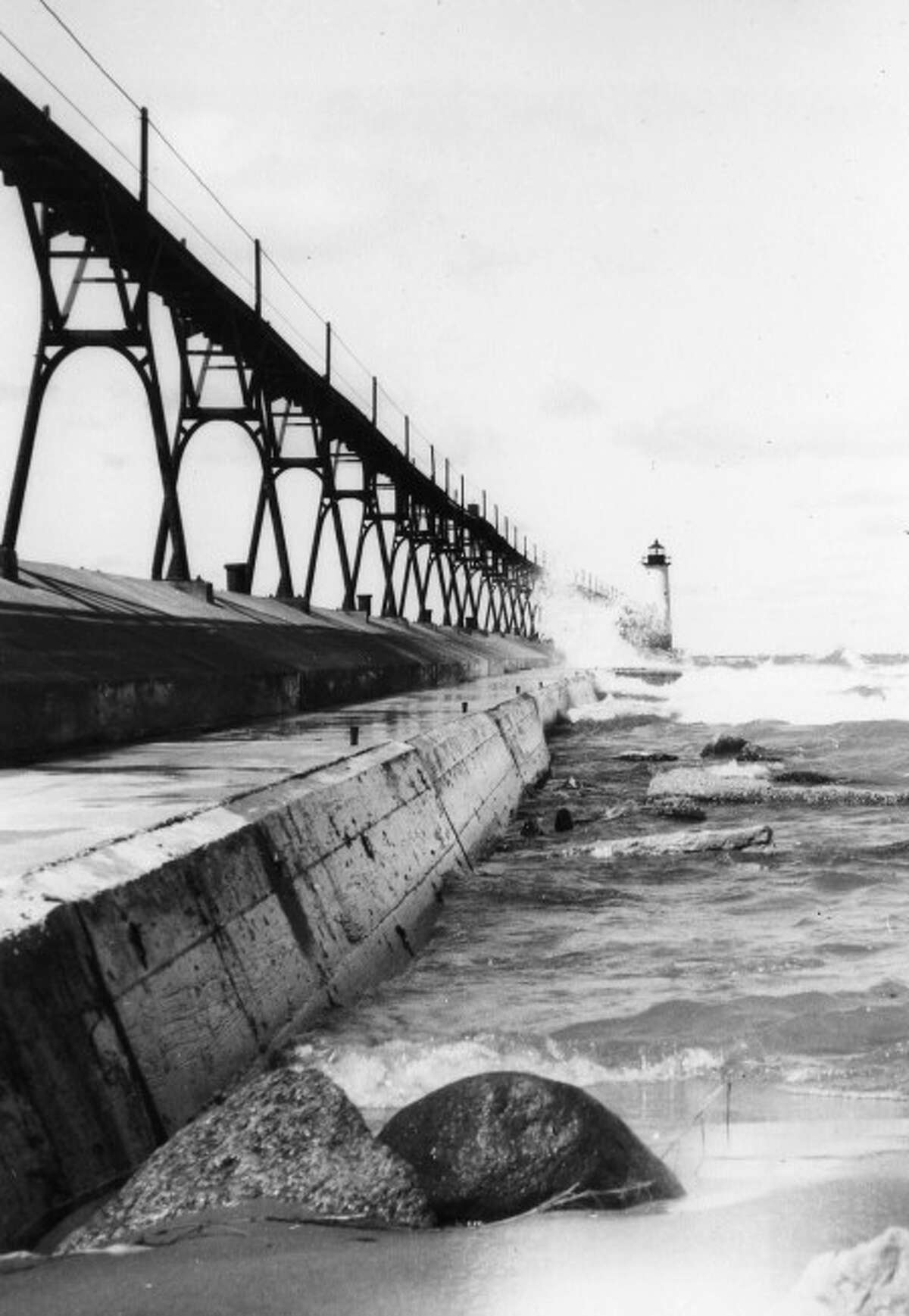 The pier at Fifth Avenue Beach is shown in this 1950s picture.