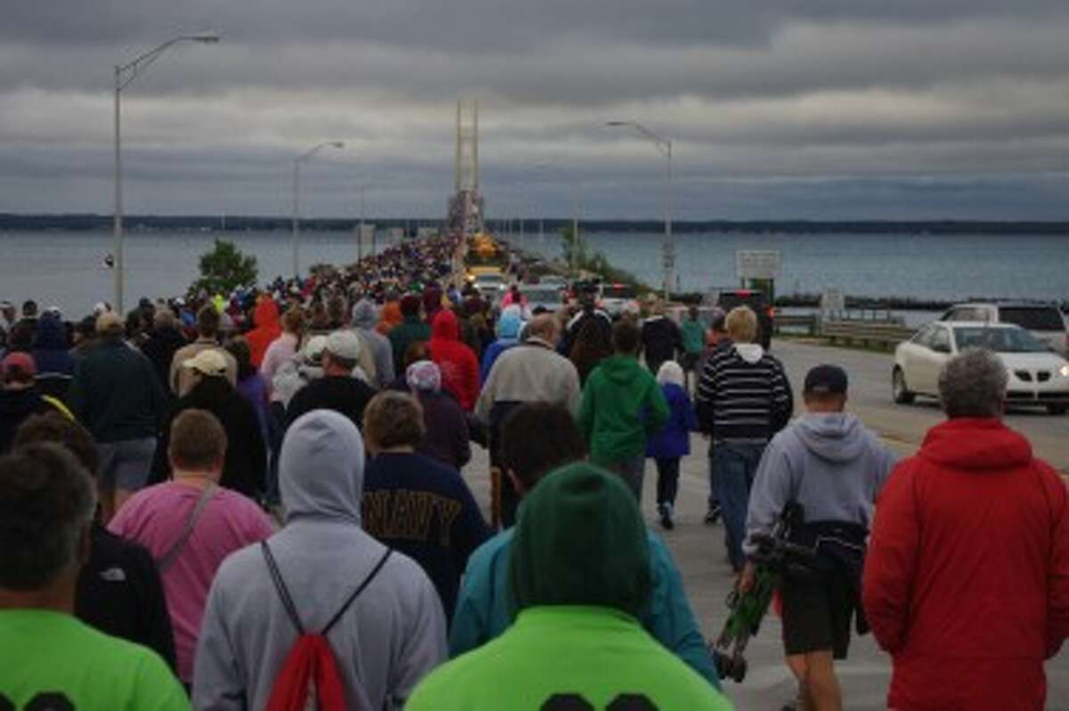 A steady stream of walkers trekked across the Mackinac Bridge between 7 a.m. and about 1 p.m. on Monday.