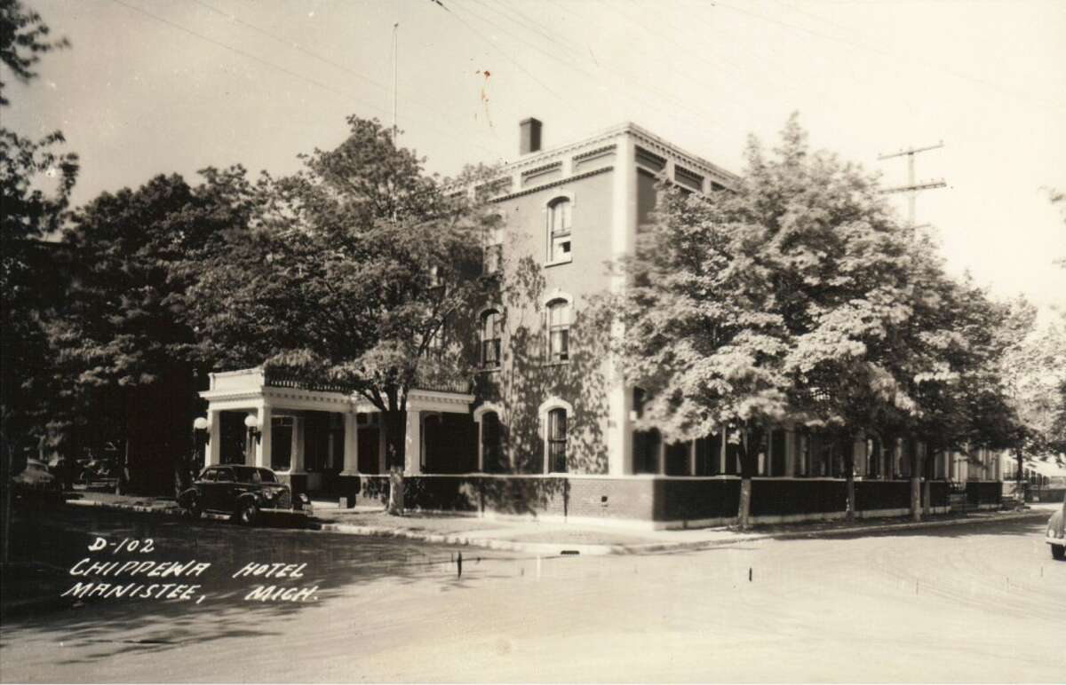A 1940s view of the Hotel Chippewa, which took up the block between Water and First streets near the location of today's River Street fountain. The building burned in the 1980s as it was undergoing restoration. (Courtesy Photo/Manistee County Historical Museum)