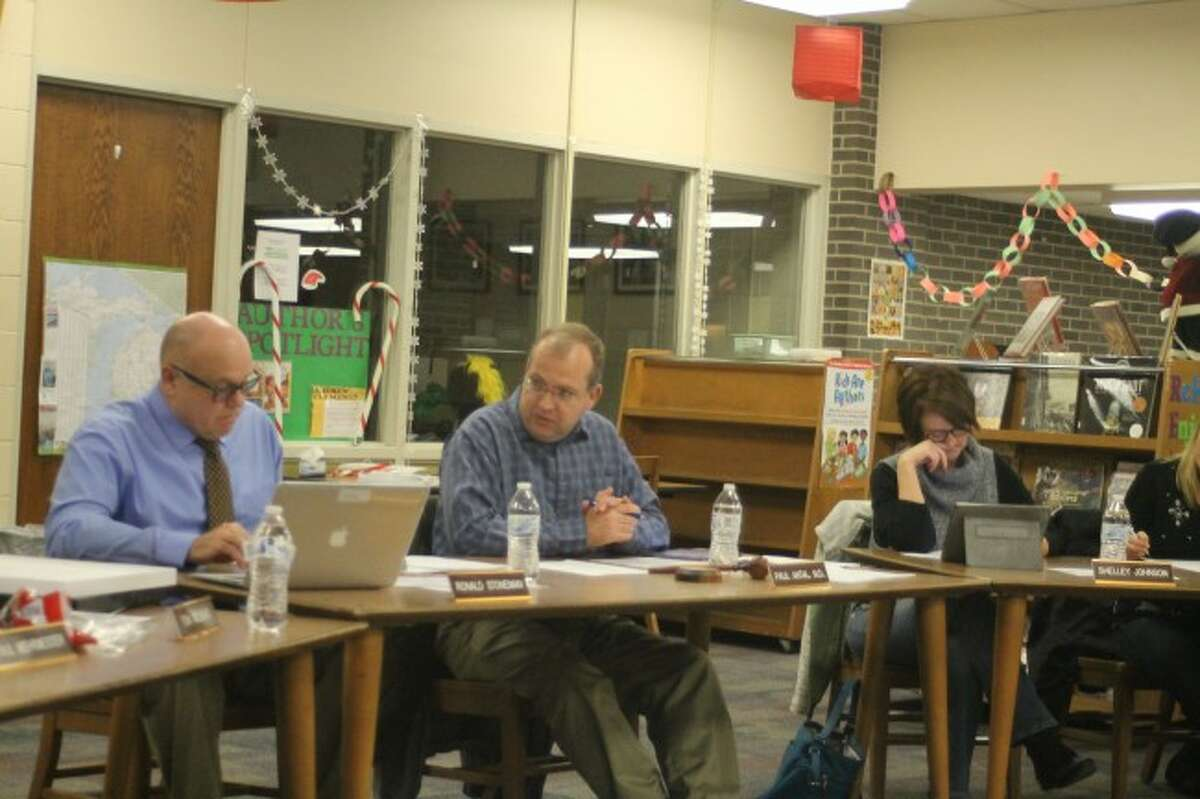 The Manistee Area Board of Education gets an update on the track project Wednesday evening from superintendent Ron Stoneman.