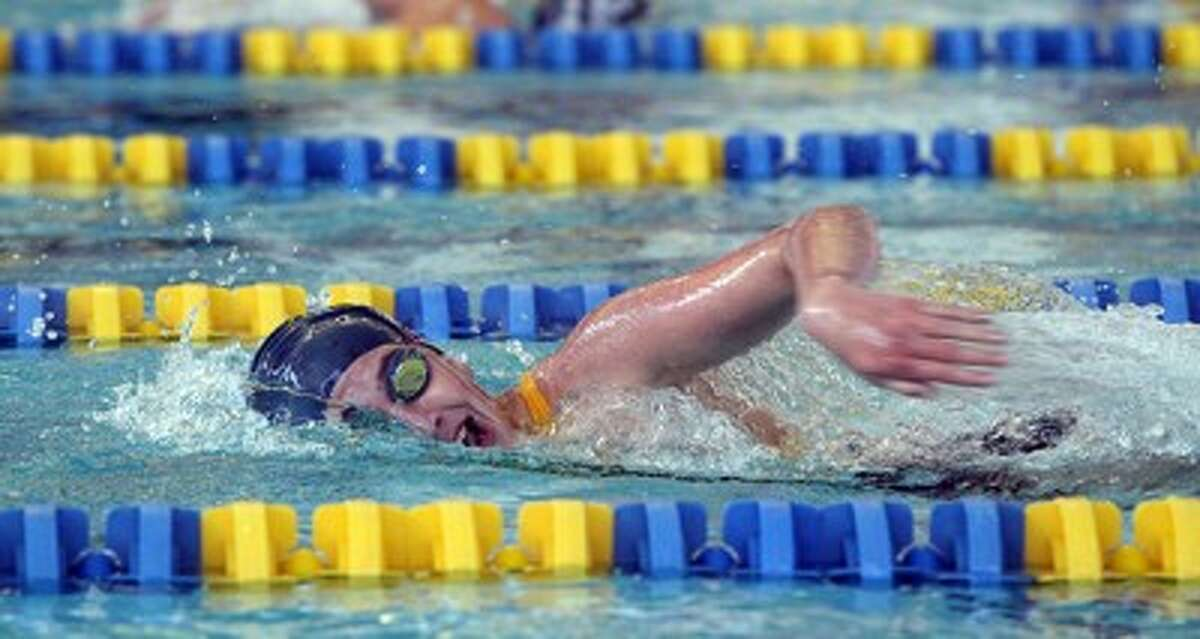 Manistee's Taylor Antal swims to a win in the 200-yard freestyle during Thursday's victory against Hudsonville Unity Christian at the Paine Aquatic Center. (Matt Wenzel/News Advocate)
