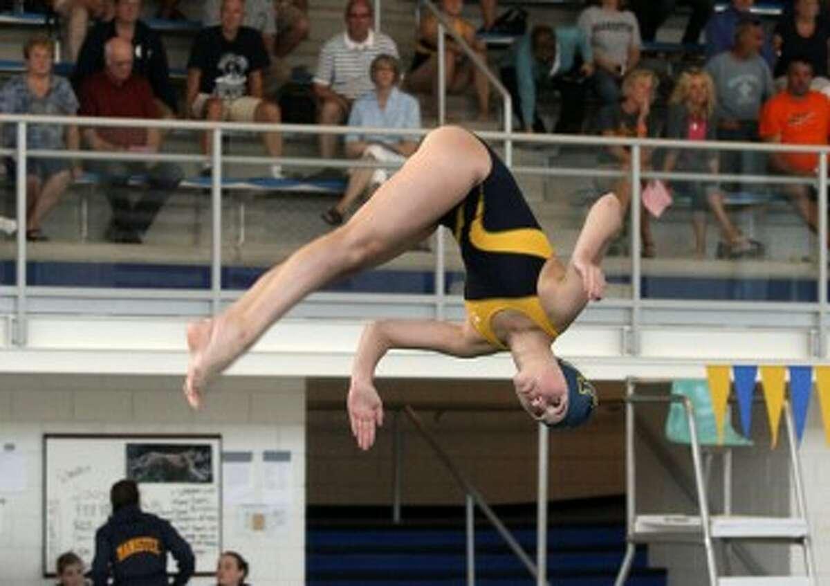 Manistee's Caroline Kessler took second in diving. (Matt Wenzel/News Advocate)
