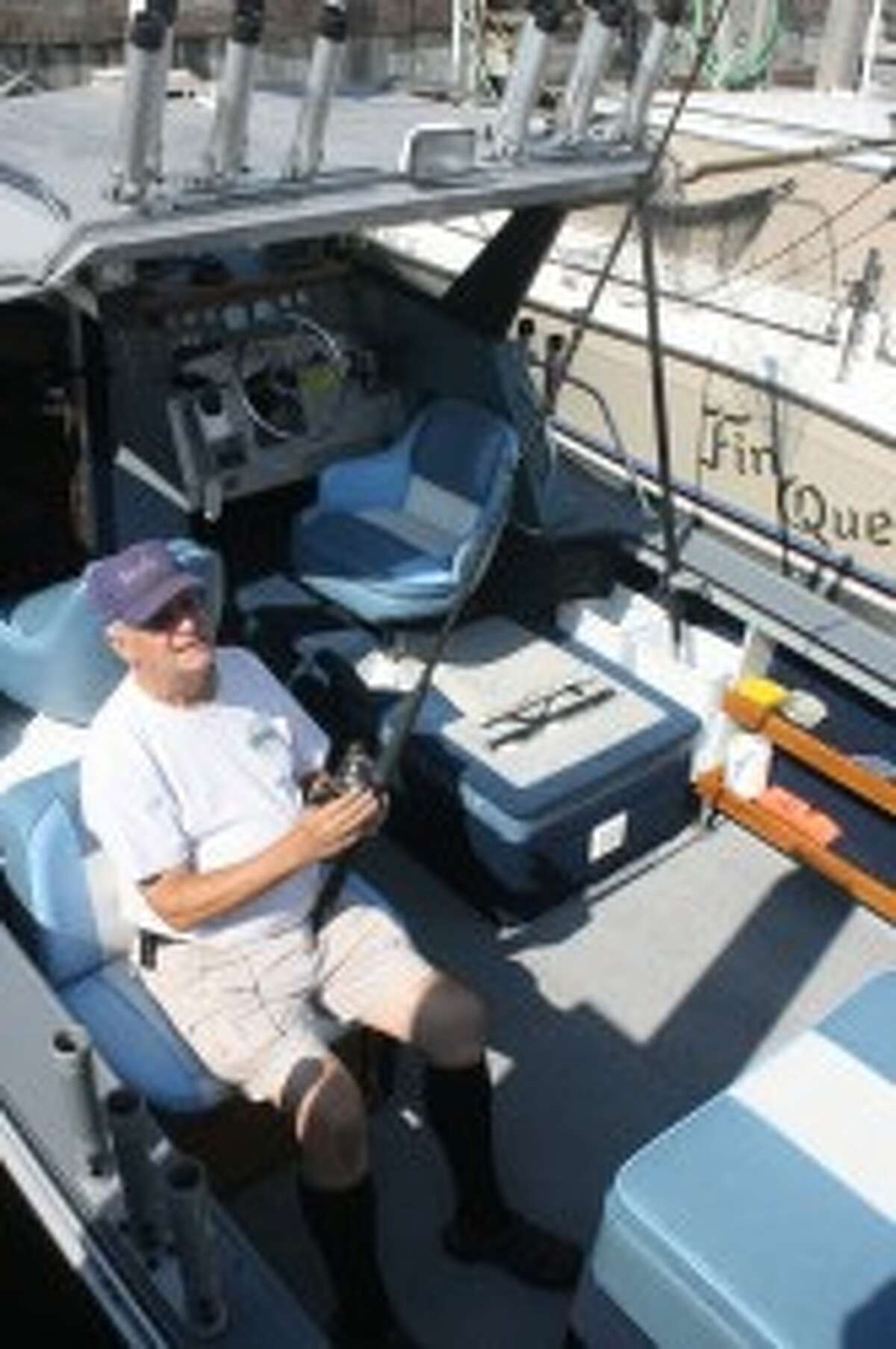 Mike Mogg gets ready for a fishing trip out of Shipwatch Marina. (John Raffel/Pioneer News Network)