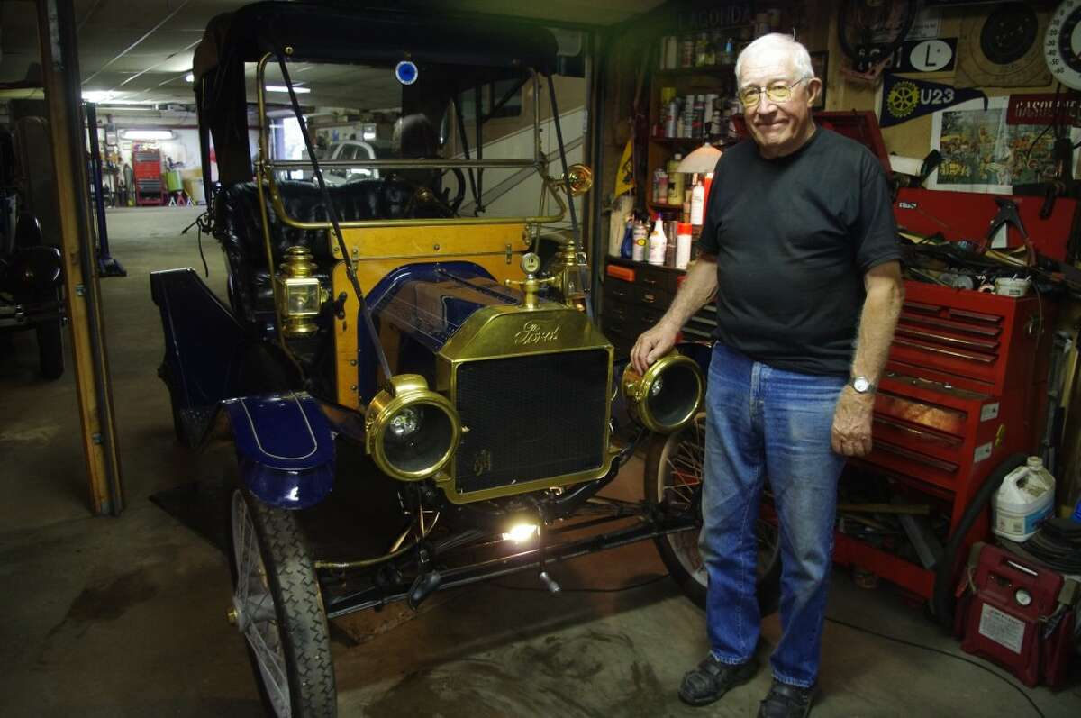 Jack Hanson of Manistee will be touring Manistee County in his 1911 Fort Model T Torpedo with the other members of the Midwest Brass and Gas Car Club later this week. Hanson is fresh off last weekend's tour of Leelanau County and in early November will be participating in his 41st London to Brighton tour in England in a 1901 Columbia Electric that he stores in England. (Dave Yarnell/News Advocate)