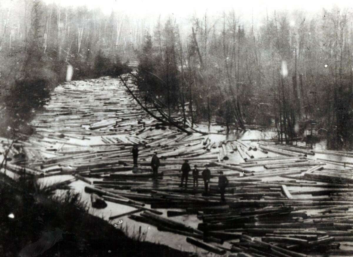 Rivers in the Manistee area were clogged with logs during the lumber era. (Courtesy Photo/Manistee County Historical Museum)