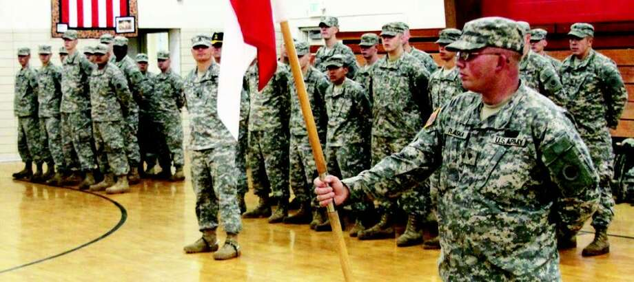 Members of Bravo Troop are seen during a ceremony prior to their nearly one-year deployment to Afghanistan. The soldiers are set to return to Manistee. (News Advocate file photo)