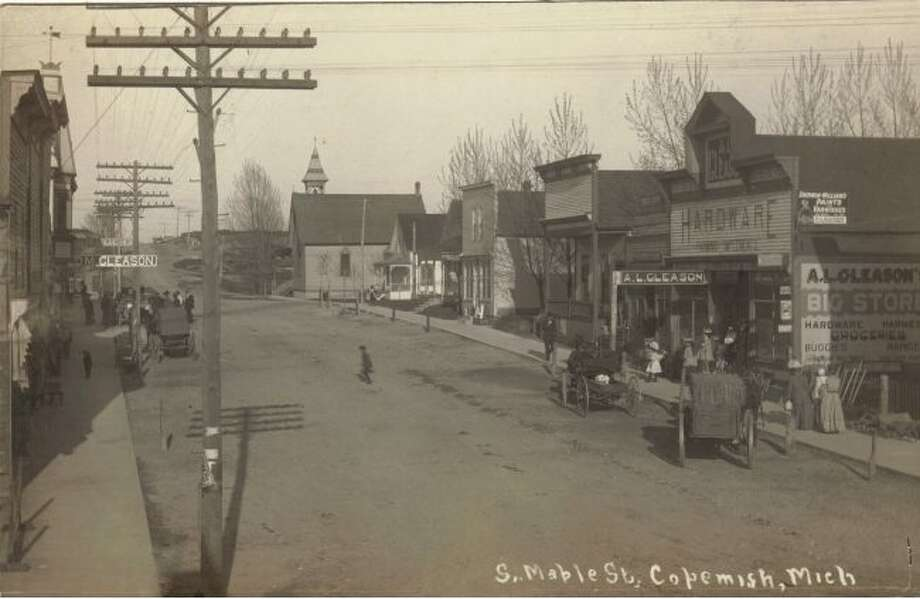 A view of Maple Street in Copemish, circa 1895.