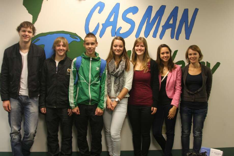 Students from the Metameer School in the Netherlands will be spending the week in manistee as part of an exchange program with the CASMAN Academy students. Shown left to right are jeroen Wubbels, Michael Atsma, Rody van Abel, Marle van Daal, Esther Taks, Sanne hendricks and teacher Sara Adeney. (Ken Grabowski/News Advocate)