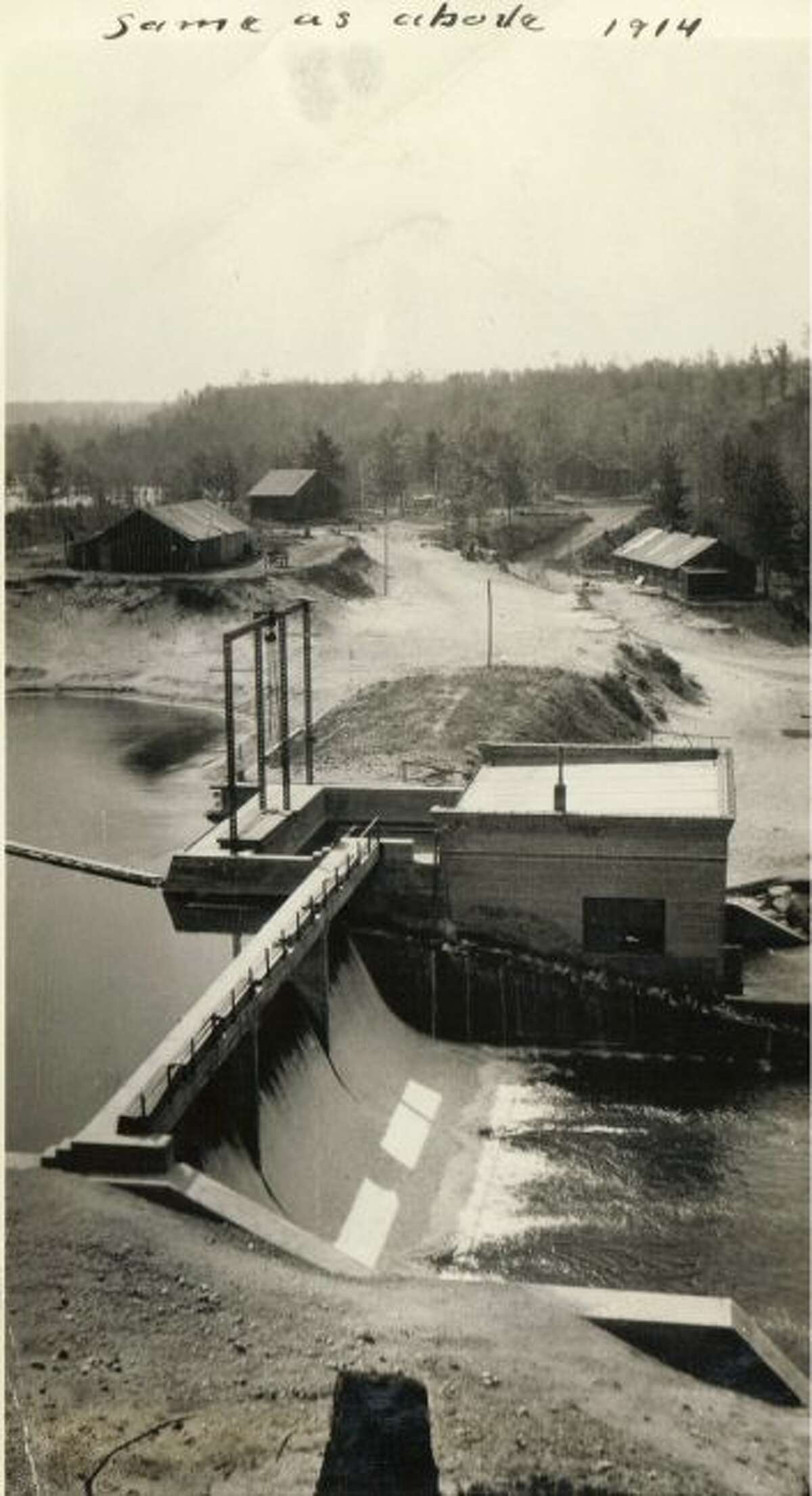 The Stronach Dam is shown in this photograph from 1914.