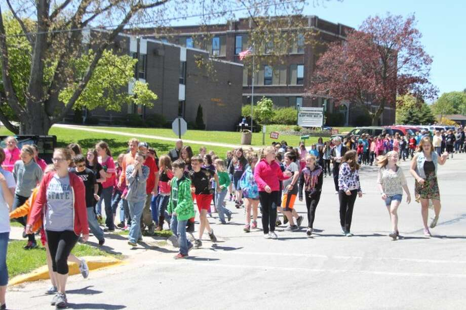 One of the activities the FIT Kids program does every spring is to get the fifth grade students from Kennedy Elementary, Trinity Lutheran School and Manistee Catholic Central to take a healthy exercise walk that culminates with a flash dance on River Street.