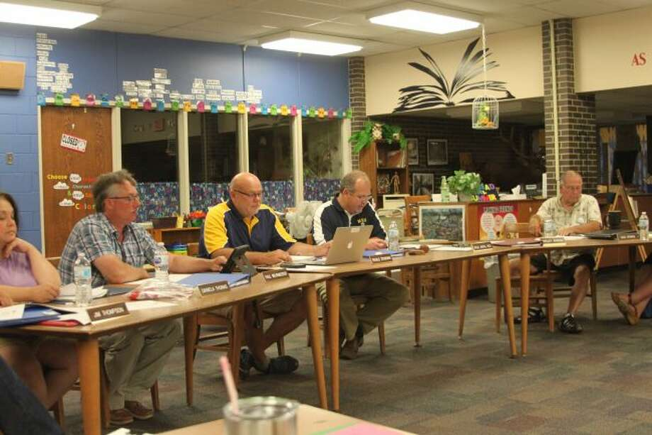 Members of the Manistee Area Public Schools Board of Education discuss the training taking place for the new math curriculum the district plans to put in place for the 2019-20 school year.