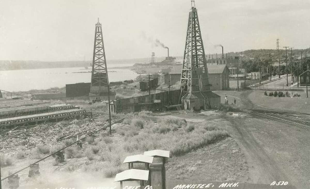The Morton Salt wells are shown in this photograph from the early 1900 time frame.