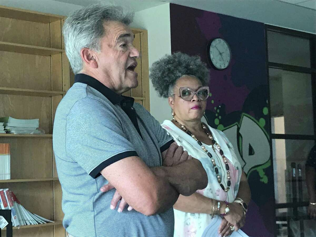 Peter Evans and Pamela Monk Kelley at a July 29, 2019 Board of Education Facilities Naming Committee meeting.