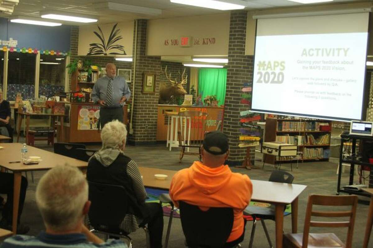 Manistee Area Public Schools superintendent Ron Stoneman addresses the public last week at a forum on the district's proposed upcoming millage request. Another forum will be held at 7 p.m. this evening (Monday) in the Kennedy Elementary media center. (Ken Grabowski/News Advocate)