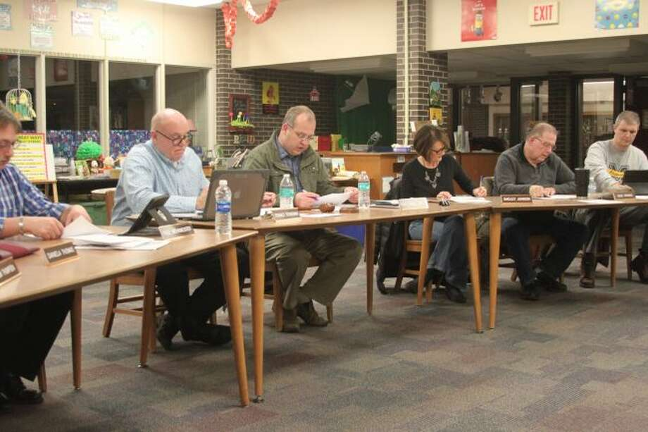Members of the Manistee Area Public Schools Board of Education discuss the formation of the Student Safety Advisory Committee.