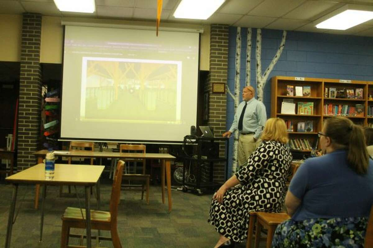 Manistee Area Public Schools superintendent Ron Stoneman shows the board of education a virtual view of what a new classroom would look like at the addition constructed to the back of the Kennedy Elementary School if the 2.65 mill bond request passes in May. The district is working on educating the public on the need for this bond issue. (Ken Grabowski/News Advocate)