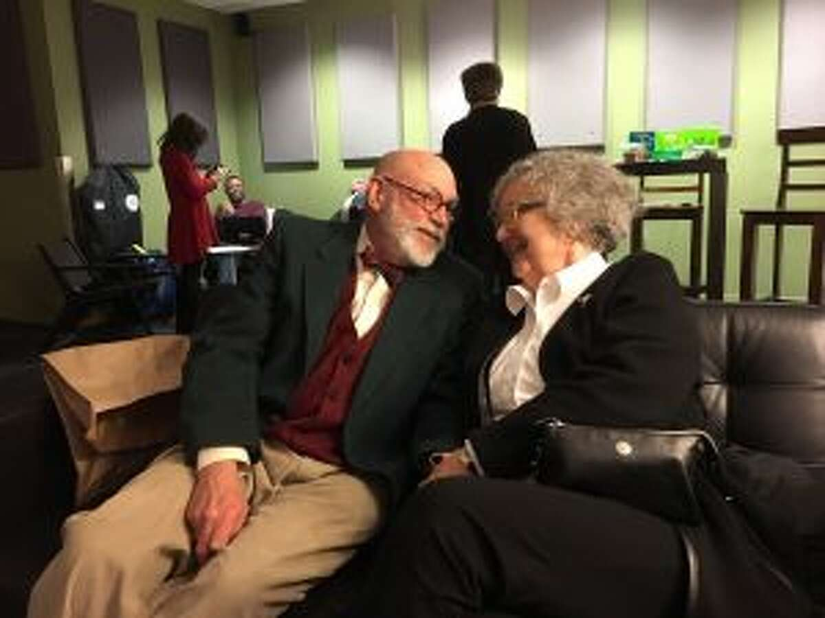 Ken and Ruth Cooper share a few minutes alone in the green room while on set at Turner Classic Movies in Atlanta, Ga. (Courtesy photo)