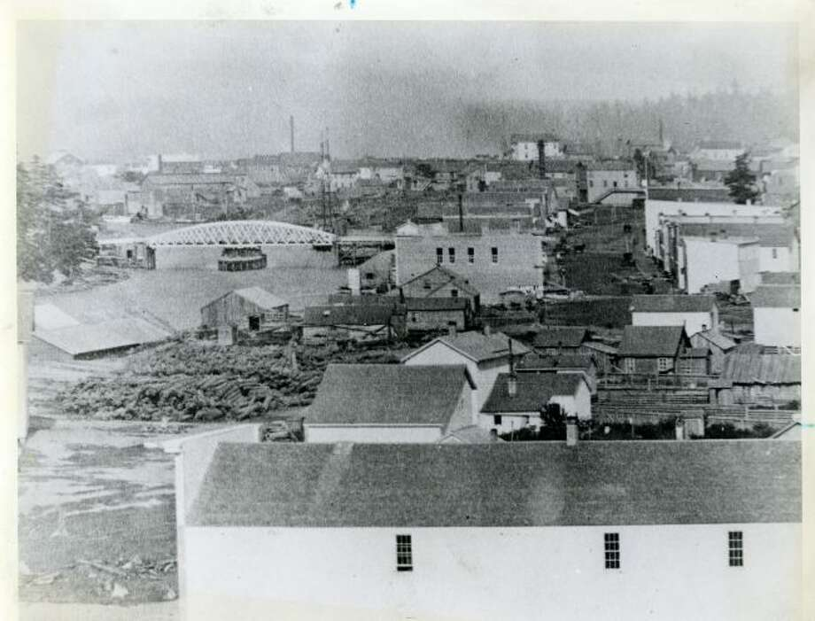 A view of the City of Manistee (near today's First Street) looking east in 1869.