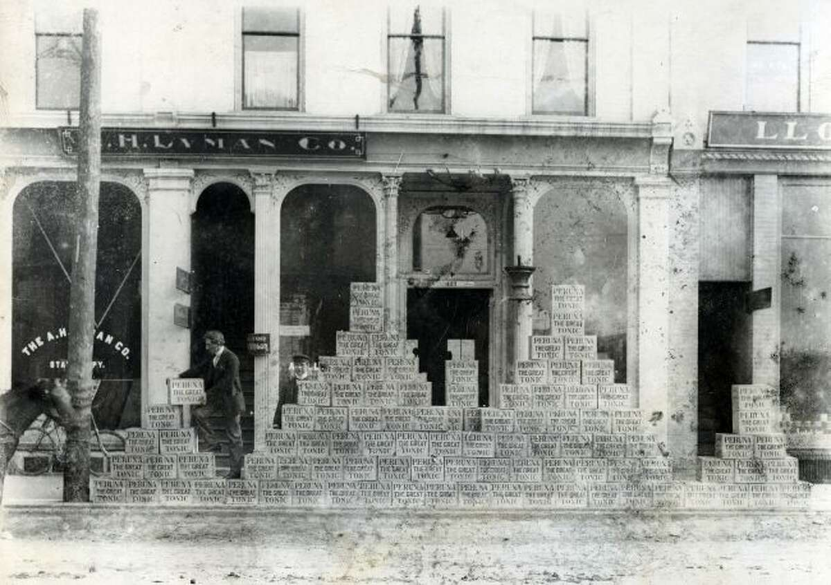 The A.H. Lyman Company Store on River Street got in a large shipment of Perunia the Great Tonic as indicated by the is early 1900 photograph.